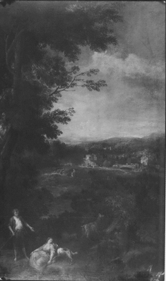 Landscape with a Goatherd and a Seated Woman Nuzzled by a Dog