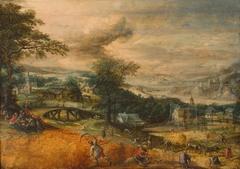 Landscape with harvesting peasants