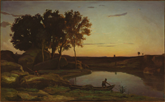 Landscape with Lake and Boatman