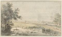 Landschap met een hengelaar aan het water