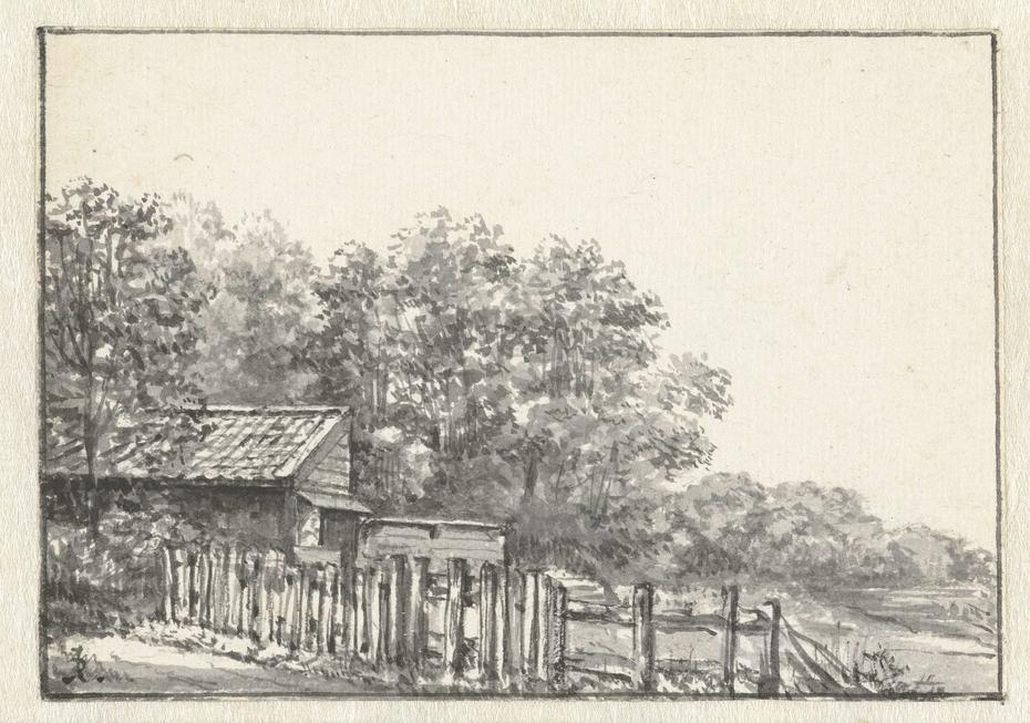 Landschap met schuur en schutting