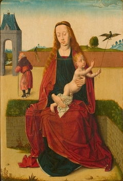 Madonna and Child on a grass bench.