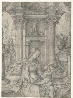 Maria met kind en H. Barbara en H. Catharina