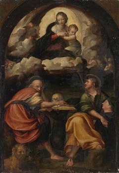Maria mit Kind in der Glorie, den hll. Hieronymus und Jakobus mit Stifter (?)