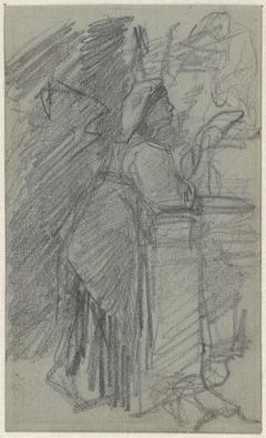 Meisje, leunend op een balustrade