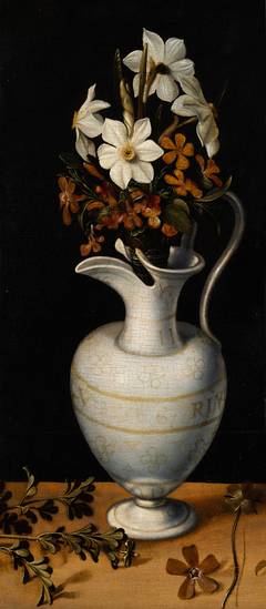Narcissi, Periwinkle and Violets in a Ewer