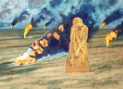 'Oil wells on fire', (2007), oil on linen, 140 x 100 cm.