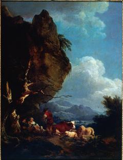 Paysage animé de bergers