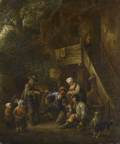 Peasants Listening to a Blind Fiddler before a Cottage