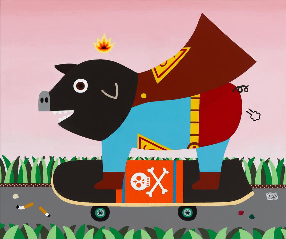 Pig on skate