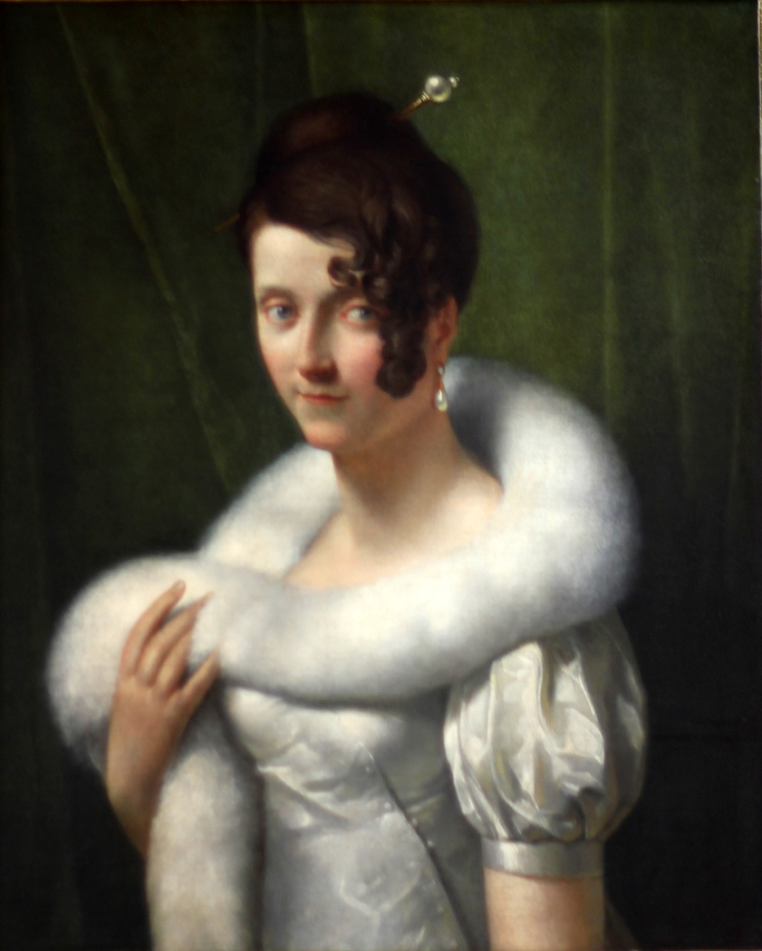 Portrait de jeune femme au boa