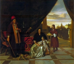 Portrait of a family on a terrace