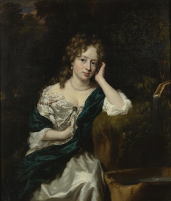 Portrait of a Lady seated by a Fountain