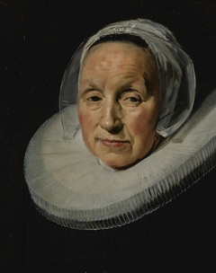 portrait of a woman with enlarged ruff and cut down from original size