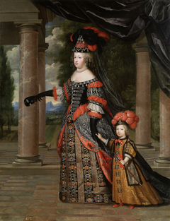 Portrait of Maria Theresa of Spain and her son in Polish costume.