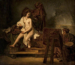 Portrait of Rembrandt painting Hendrickje as his Model