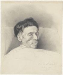 Portret van een man op zijn sterfbed