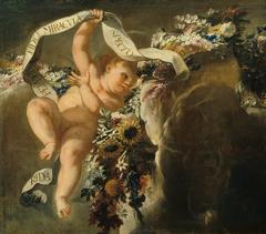 Putto mit Blumengewinde und Spruchband