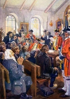 Reading the Order of expulsion to the Acadians in the parish Church at Grand-Pré, in 1755