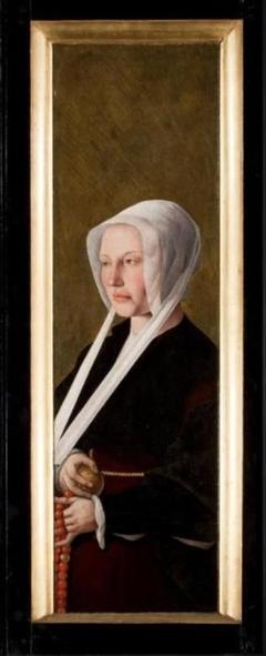 Rechterluik van een triptiek. Voorzijde: Opstanding. Achterzijde: Portret van een vrouw (stichtster)