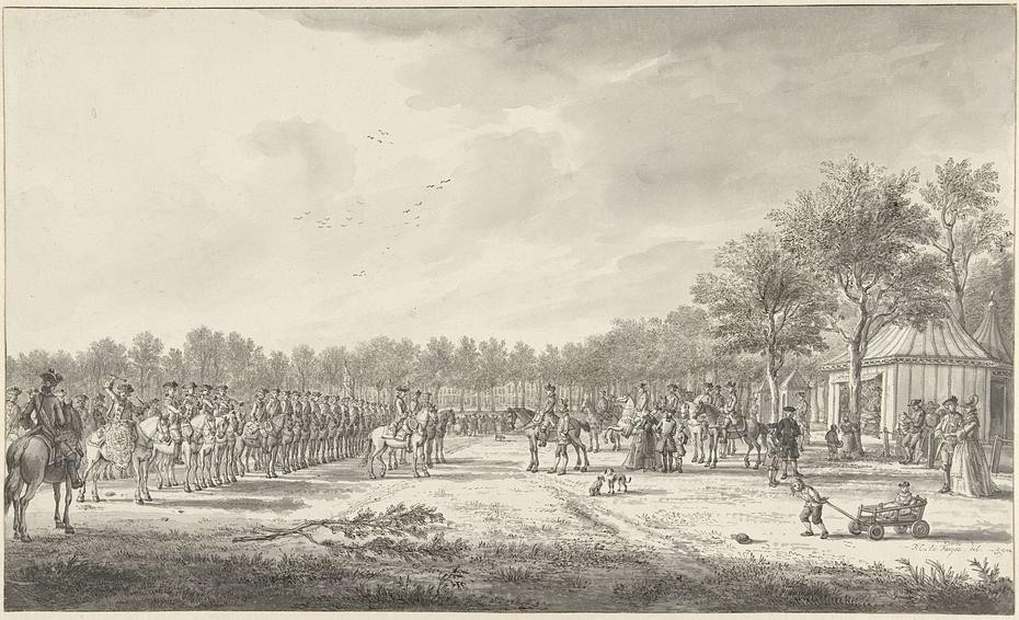 Revue van de cavalerie door prins Willem V op het Malieveld te Den Haag, 1770