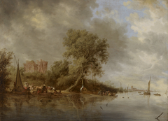 River landscape with the ruins of Castle of Egmond