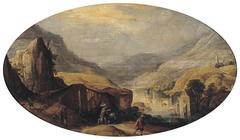 Riviervallei met reizigers