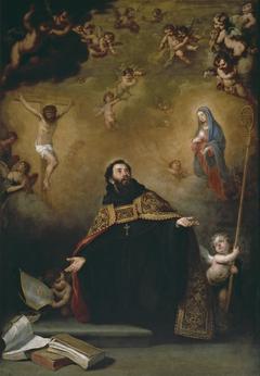 Saint Augustine between Christ and the Virgin