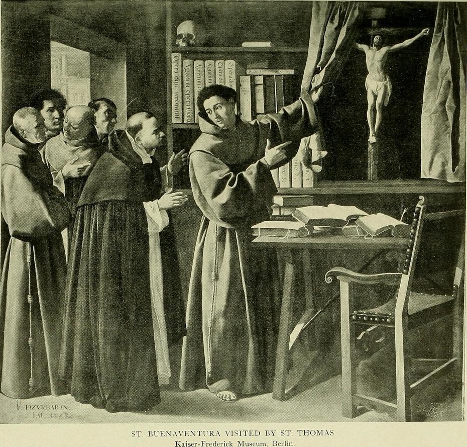 Saint Bonaventure and Saint Thomas Aquinas in Front of the Crucifix