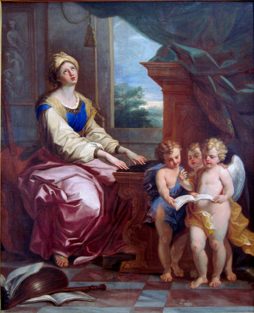 Sainte Cécile accompagnée de trois anges musiciens