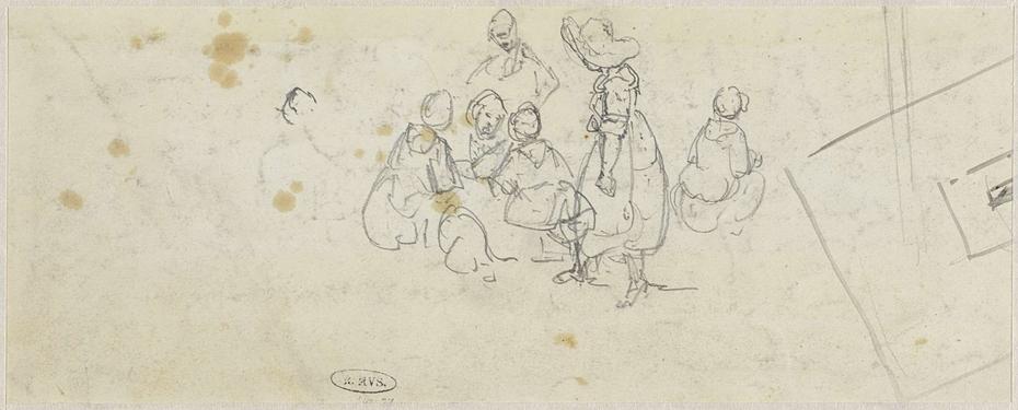 Schets van een groepje staande en zittende personen