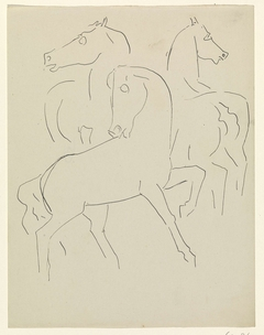 Schetsblad met drie studies van paarden