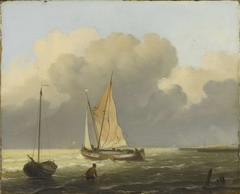 Seas off the Coast, with Spritsail Barge