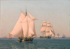 Ships under sail in a mild breeze on a clear summer's afternoon