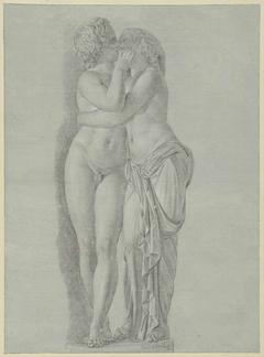 Standbeeld van een kussend paar