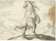 Steigerend paard voor een Italiaans havengezicht