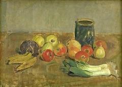 Still Life. Apples, Leeks, Bananas and Green Jar