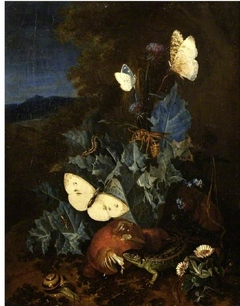 Still-life with a thistle, boletus, snail, lizard, butterflies and a bee in a landscape