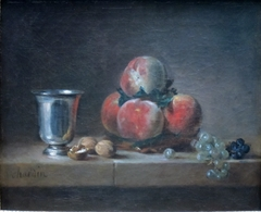 Still Life with Peaches, a Silver Goblet, Grapes, and Walnuts