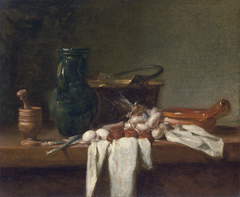 Still Life with Pestle and Mortar, Pitcher and copper Cauldron