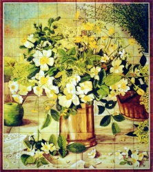 Still life with wild flowers, copper vase and apple