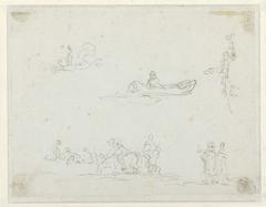Studies van personen in een boot