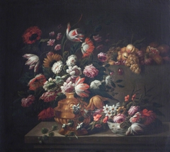 Tulips, Roses and other Flowers in a Golden Vase and in a Porcelain Bowl, and Fruit on a Pedestal