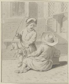 Twee kinderen op straat met een speelgoedpaard, een stoof en een zweep