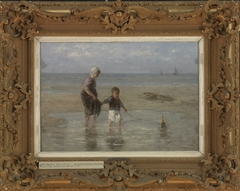 Two Children Wading at the Shore