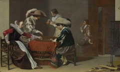Two Men playing Tric-trac, with a Woman scoring