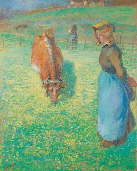 Paysanne gardant une vache