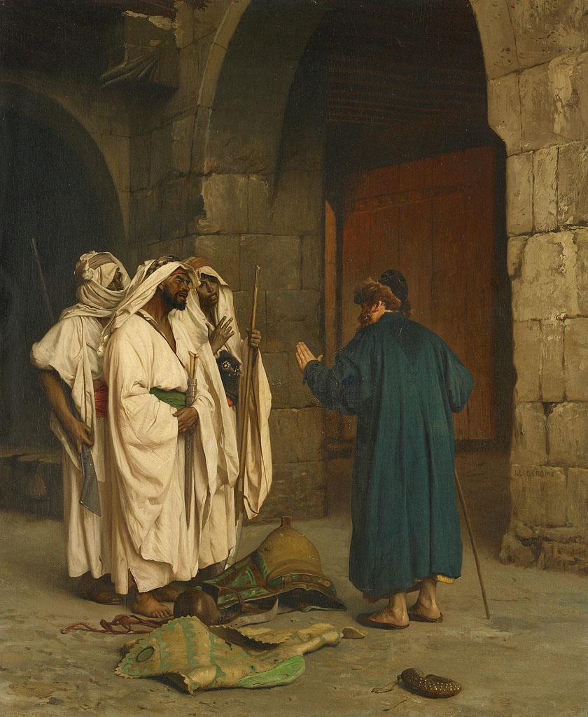 Oude jood met drie arabieren