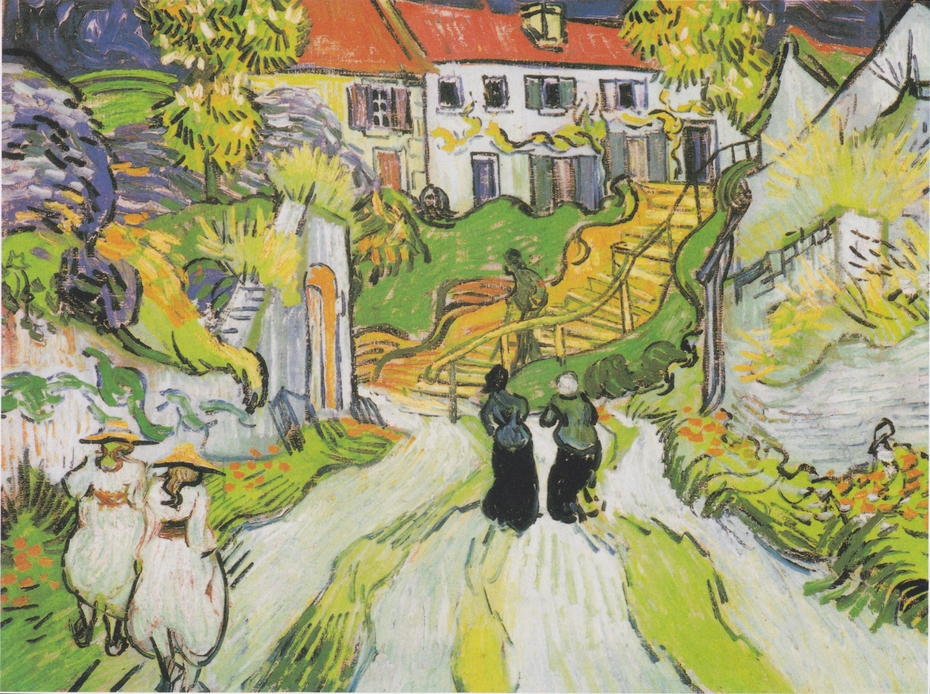 Village street and stairs in Auvers with figures
