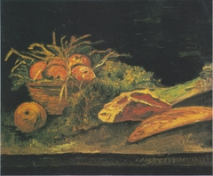 Still life with apple basket, meat and bread rolls